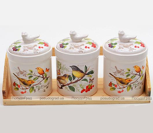 """Набор """"Birds Garden"""" 3 банки для сыпучих продуктов на деревянной подставке"""