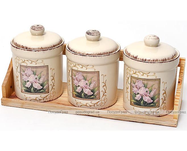 """Набор банок """"Розовый ирис"""" для сыпучих продуктов по 500мл на деревянной подставке"""