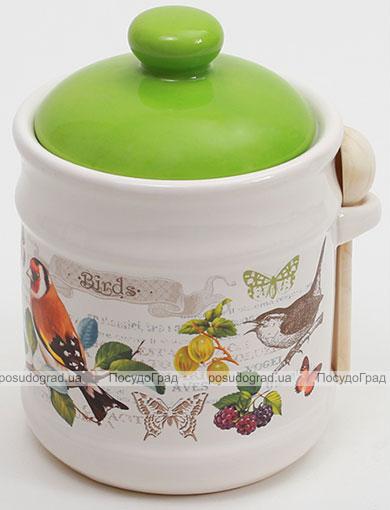 """Банка для сыпучих продуктов """"Birds Garden"""" Ø12х16,5см с деревянной ложкой"""