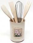 """Подставка """"Розовый ирис"""" для кухонных принадлежностей + деревянные лопатки и венчик"""