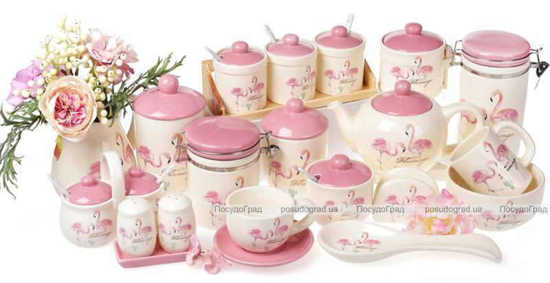 """Набор спецовников """"Розовый Фламинго"""" солонка и перечница на керамической подставке"""