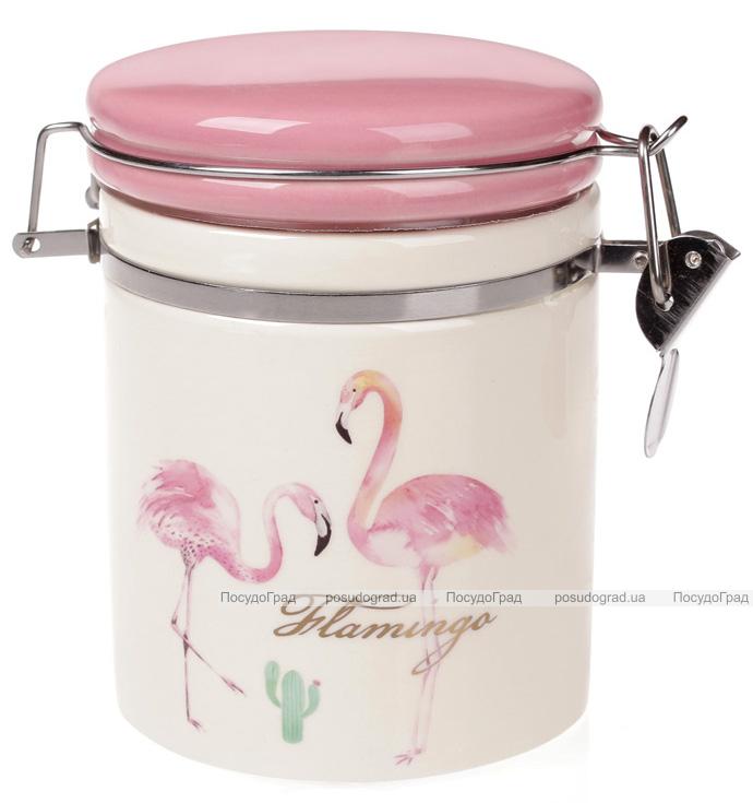 """Банка керамическая """"Розовый Фламинго"""" 600мл с металлической затяжкой"""