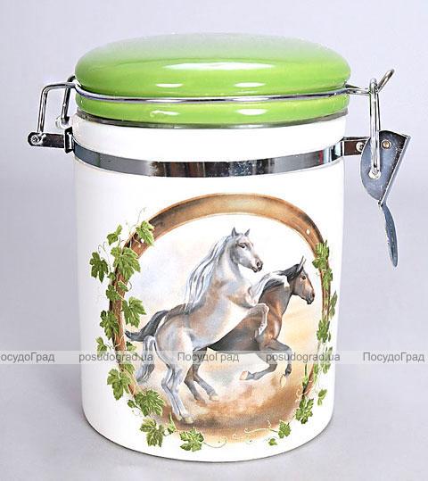 """Банка """"Две Лошади"""" 15см для сыпучих продуктов с металлической затяжкой"""