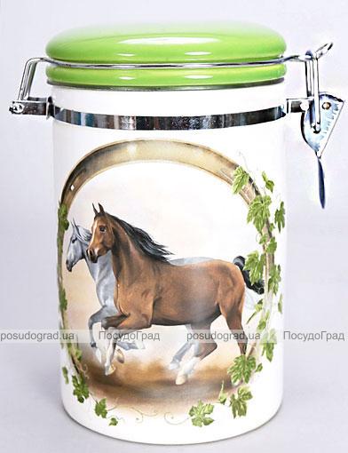 """Банка """"Две Лошади"""" 17см для сыпучих продуктов с металлической затяжкой"""