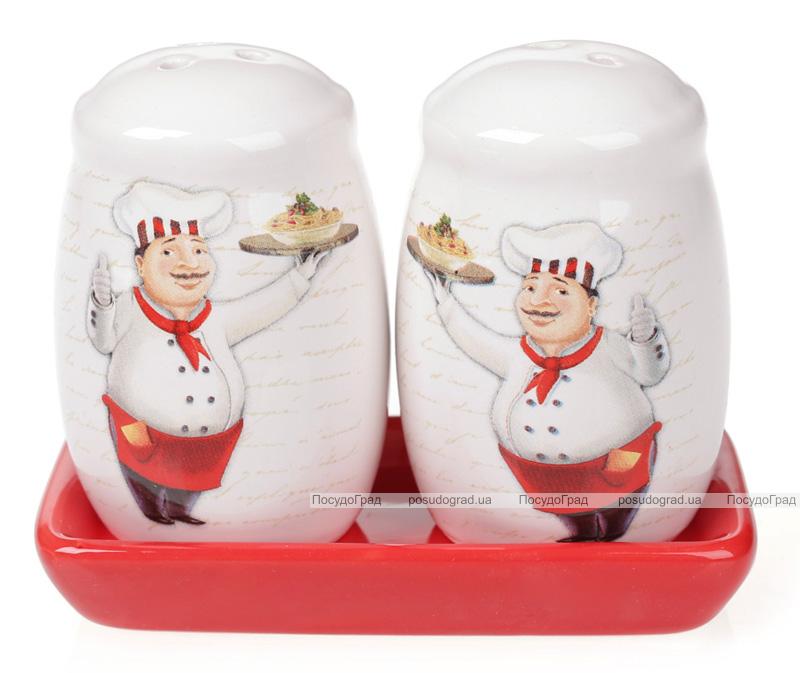 """Набор спецовников """"Шеф-повар"""" соль и перец на керамической подставке"""