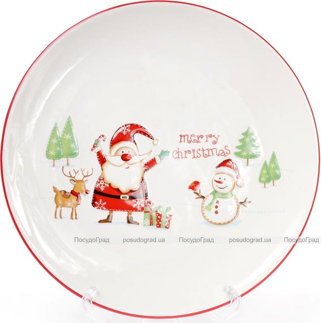 """Блюдо керамическое Happy New Year """"Веселый Санта"""" Ø31см"""