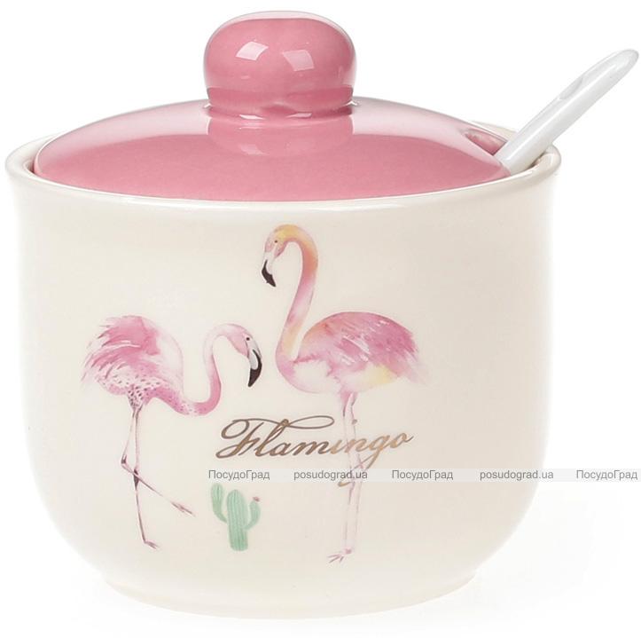 """Сахарница керамическая """"Розовый Фламинго"""" 350мл с порционной ложкой"""