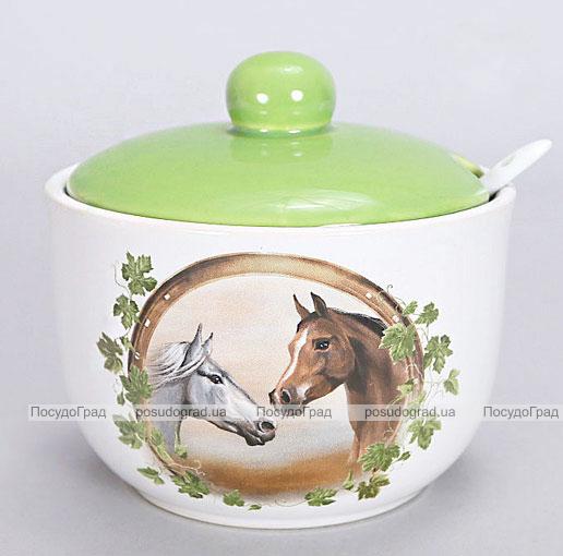 """Сахарница """"Две Лошади"""" Ø12см с керамической ложечкой"""