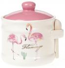 """Банка керамическая """"Розовый Фламинго"""" 450мл с деревянной ложкой"""