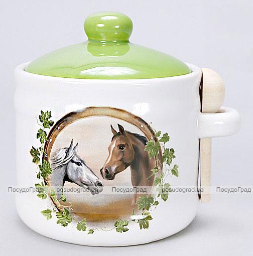 """Банка """"Две Лошади"""" для сыпучих продуктов или меда с деревянной ложкой"""