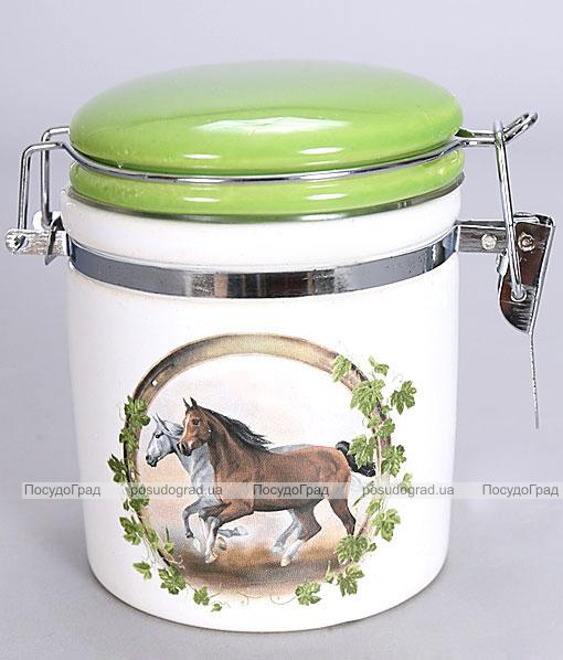 """Банка """"Две Лошади"""" 220мл для сыпучих продуктов с металлической затяжкой"""