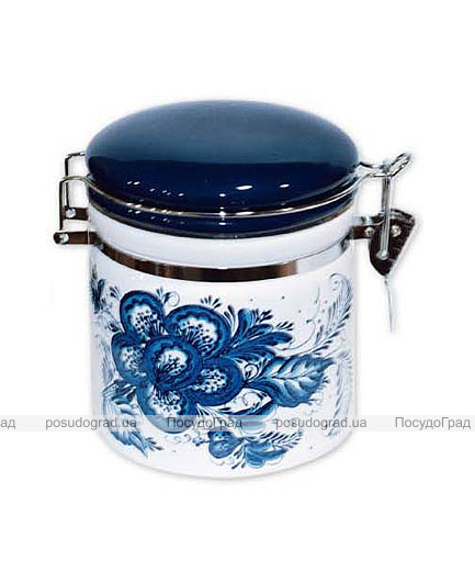 """Банка """"Синий Цветок"""" 220мл для сыпучих продуктов с металлической затяжкой"""