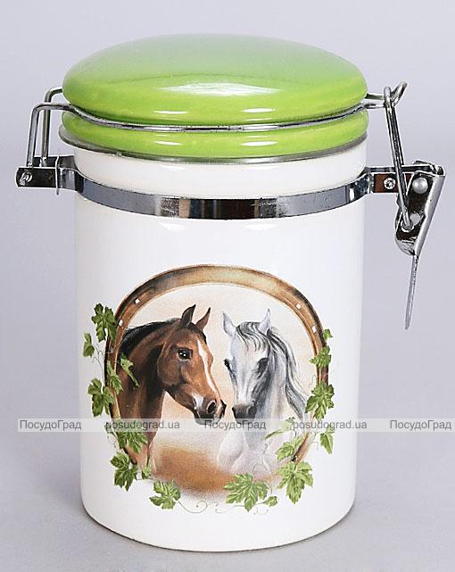 """Банка """"Две Лошади"""" 300мл для сыпучих продуктов с металлической затяжкой"""