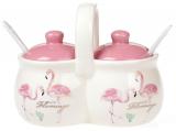 """Набор для специй """"Розовый Фламинго"""" 220мл сдвоенные спецовники с ложечками и ручкой"""