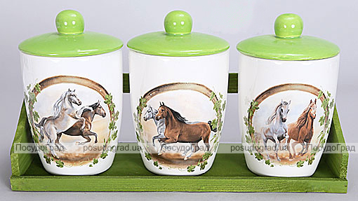"""Набор банок """"Две Лошади"""" для сыпучих продуктов на деревянной подставке"""