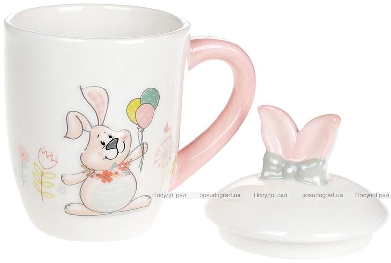 """Кружка керамічна """"Веселий кролик"""" 360мл з кришкою"""