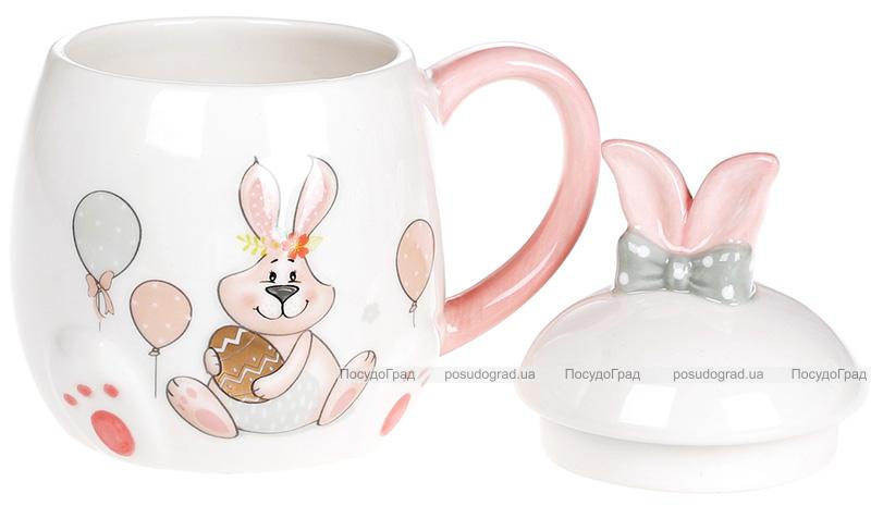 """Кружка керамічна """"Веселий кролик"""" з золотим яйцем 450мл з кришкою"""