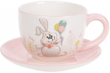 "Чайна пара ""Веселий кролик"" з кульками чашка 240мл з блюдцем"