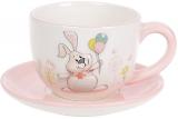 """Чайная пара """"Веселый кролик"""" с шариками чашка 240мл с блюдцем"""