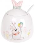 """Цукорниця керамічна """"Веселий кролик"""" з кульками, з керамічною ложкою"""