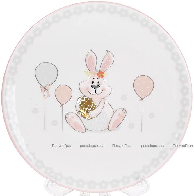 """Тарілка керамічна """"Веселий кролик"""" з золотим яйцем Ø17см"""