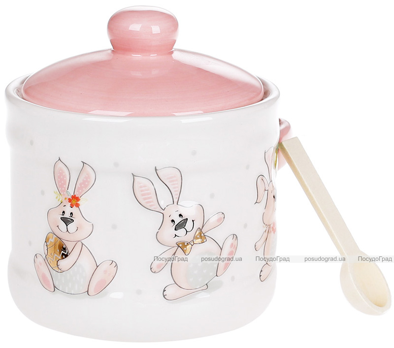 """Банка керамічна """"Веселий кролик"""" з дерев'яною ложкою"""