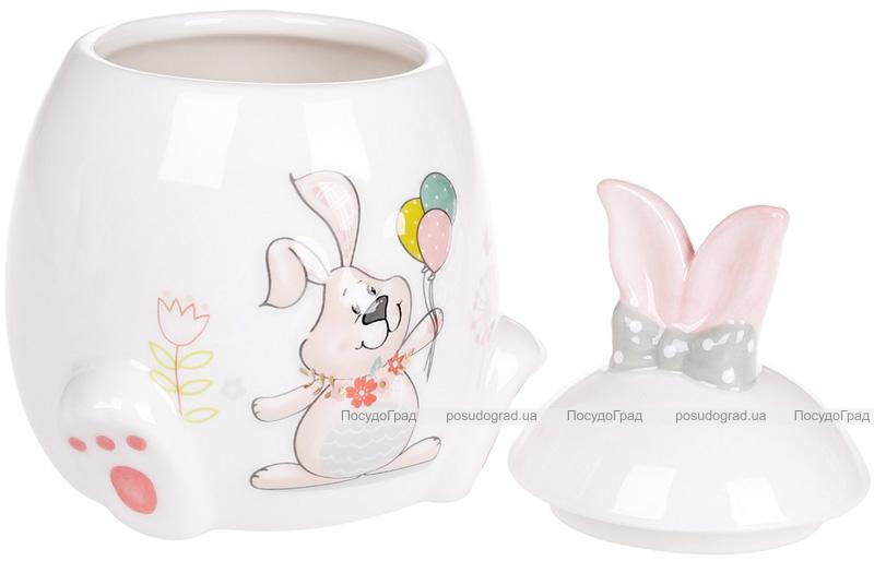 """Банка керамическая """"Веселый кролик с цветами"""" 450мл с объемным рисунком"""