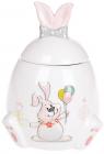 """Банка керамічна """"Веселий кролик з квітами"""" 450мл з об'ємним малюнком"""