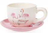 "Чашка с блюдцем ""Розовый Фламинго"" 200мл, керамика"