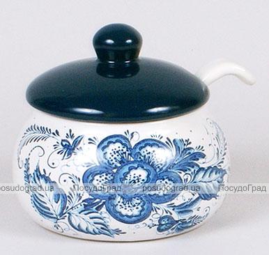 """Банка """"Синий Цветок"""" 450мл для приправ или меда с керамической ложкой"""