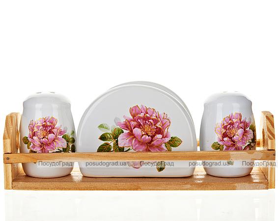 """Набор для специй """"Райский сад"""" два спецовника и салфетница на деревянной подставке"""