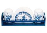 """Набор для специй """"Синий Цветок"""" два спецовника и салфетница на деревянной подставке"""