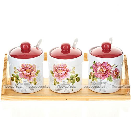 """Набор банок """"Райский сад"""" для сыпучих продуктов 250мл с ложечками и деревянной подставкой"""