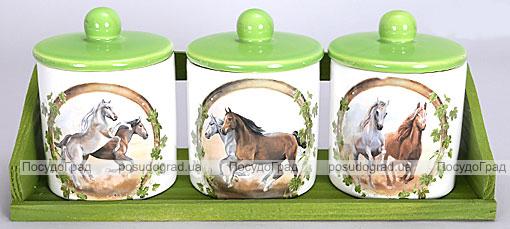 """Набор больших прямых банок """"Две Лошади"""" для сыпучих продуктов на деревянной подставке"""