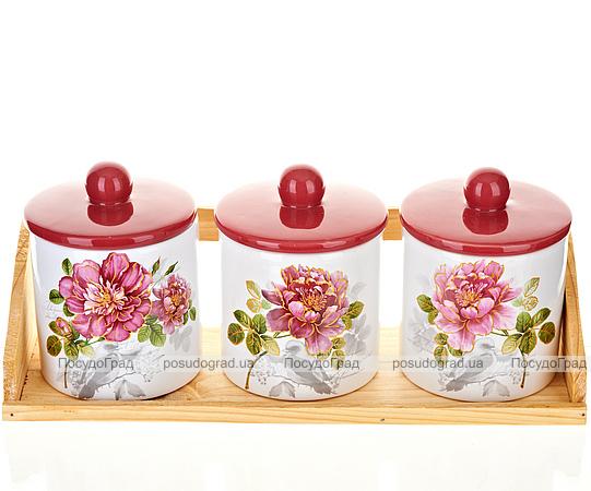 """Набор прямых банок """"Райский сад"""" для сыпучих продуктов 350мл на деревянной подставке"""
