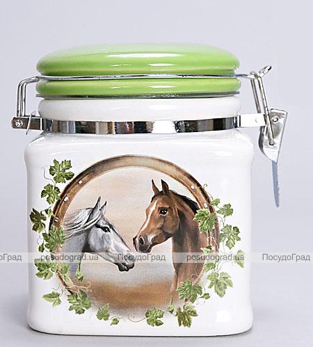 """Банка квадратная """"Две Лошади"""" 400мл для сыпучих продуктов с металлической затяжкой"""