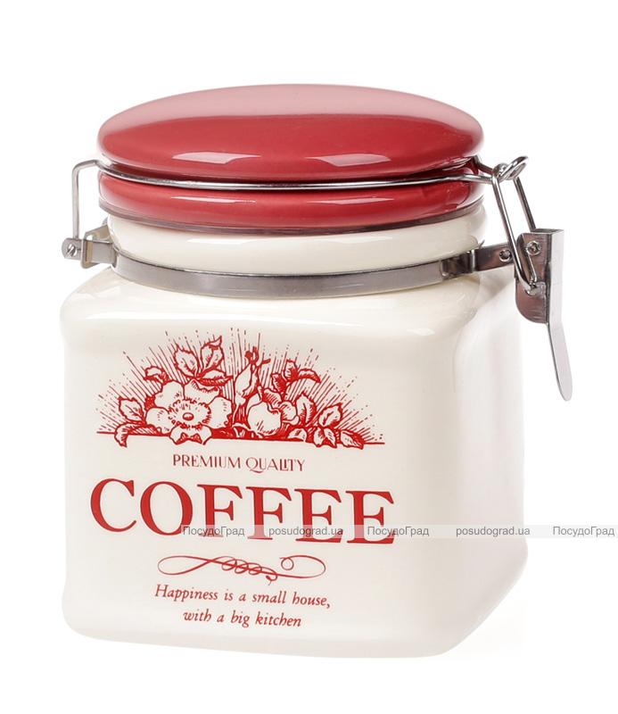 """Банка керамическая """"Английский Шиповник COFFEE"""" 500мл с металлической затяжкой"""