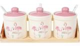 """Набор 3 керамические банки """"Розовый Фламинго"""" по 250мл с ложками и на деревянной подставке"""