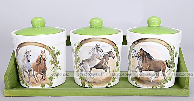 """Набор маленьких прямых банок """"Две Лошади"""" для сыпучих продуктов на деревянной подставке"""