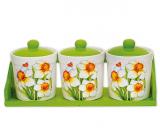 """Набор маленьких прямых банок """"Нарцисс"""" для сыпучих продуктов на деревянной подставке"""