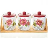 """Набор банок """"Райский сад"""" для сыпучих продуктов 350мл на деревянной подставке"""