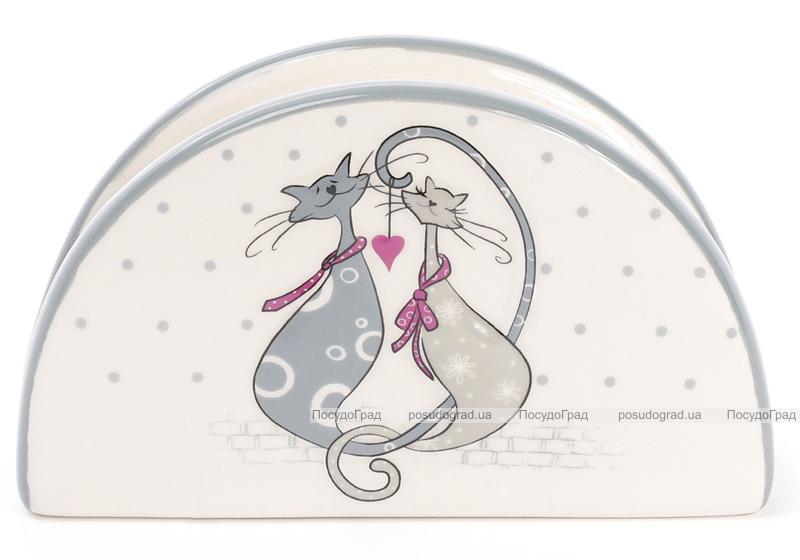 """Серветниця керамічна """"Закохані коти"""" підставка для серветок 12.5х4.2х7.5см"""