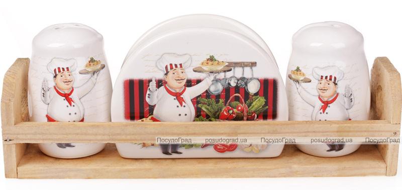 """Набор для специй """"Шеф-повар"""" два спецовника и салфетница на деревянной подставке"""