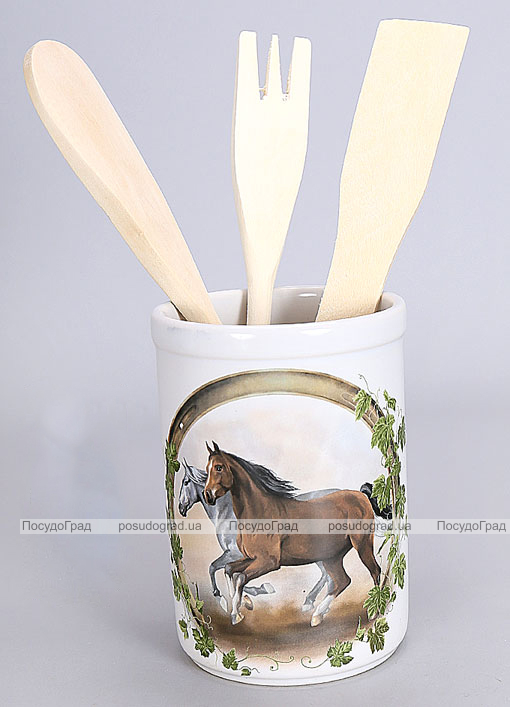 """Подставка """"Две Лошади"""" для кухонных принадлежностей + деревянные лопатки и венчик"""