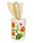 """Подставка """"Нарцисс"""" для кухонных принадлежностей + деревянные лопатки и венчик"""