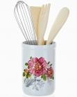 """Подставка """"Райский сад"""" для кухонных принадлежностей + деревянные лопатки и венчик"""