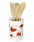 """Подставка """"Ягодка"""" для кухонных принадлежностей + деревянные лопатки и венчик"""
