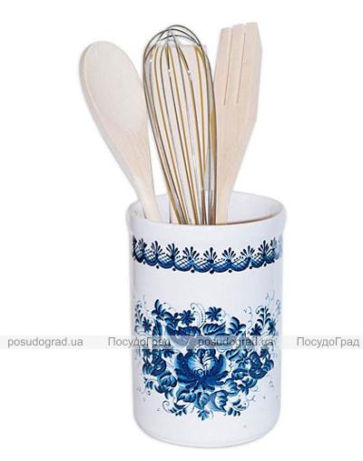 """Подставка """"Синий Цветок"""" для кухонных принадлежностей + деревянные лопатки и венчик"""