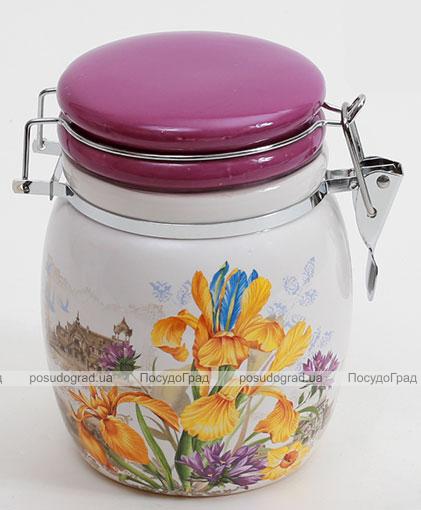 """Банка пузатая """"Iris Flower"""" 13.3x11.5x15.4см с крышкой на металлической затяжке"""