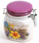 """Банка пузатая """"Iris Flower"""" 11.3x8.3x12см с крышкой на металлической затяжке"""